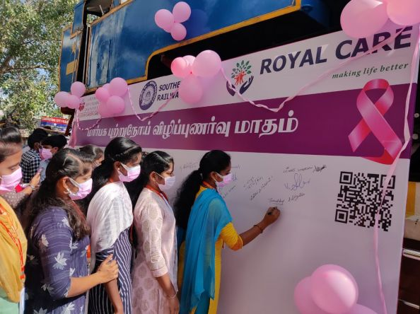 Royal Care Hospital conducts Signature Campaign on Breast Cancer Awareness at Coimbatore Railway Station